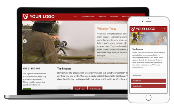 Desktop and mobile view of our Hook and Ladder template