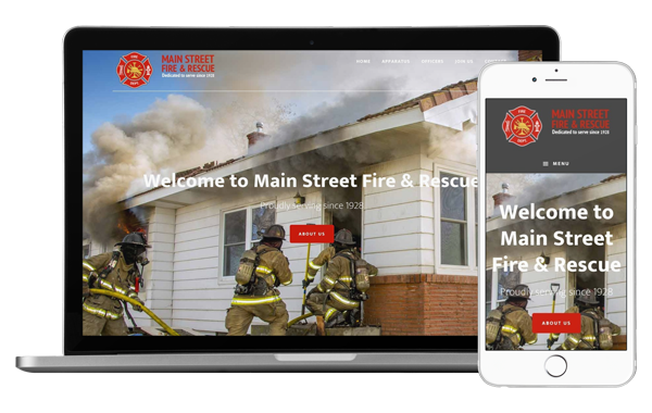 Desktop and mobile view of our Main Street template