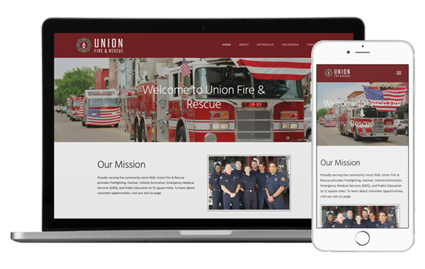 Desktop and mobile view of our Union Fire and Rescue template